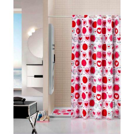 Cortina de baño y alfombra Corazones